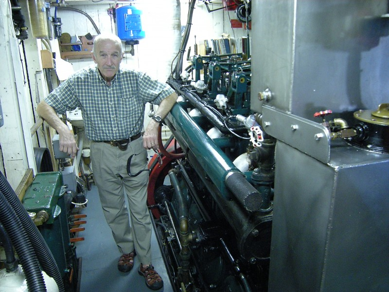 MV Westward - Hugh Reilly in engine room 01