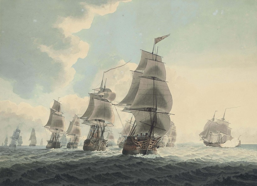 Samuel Atkins - A squadron of the royal navy running down