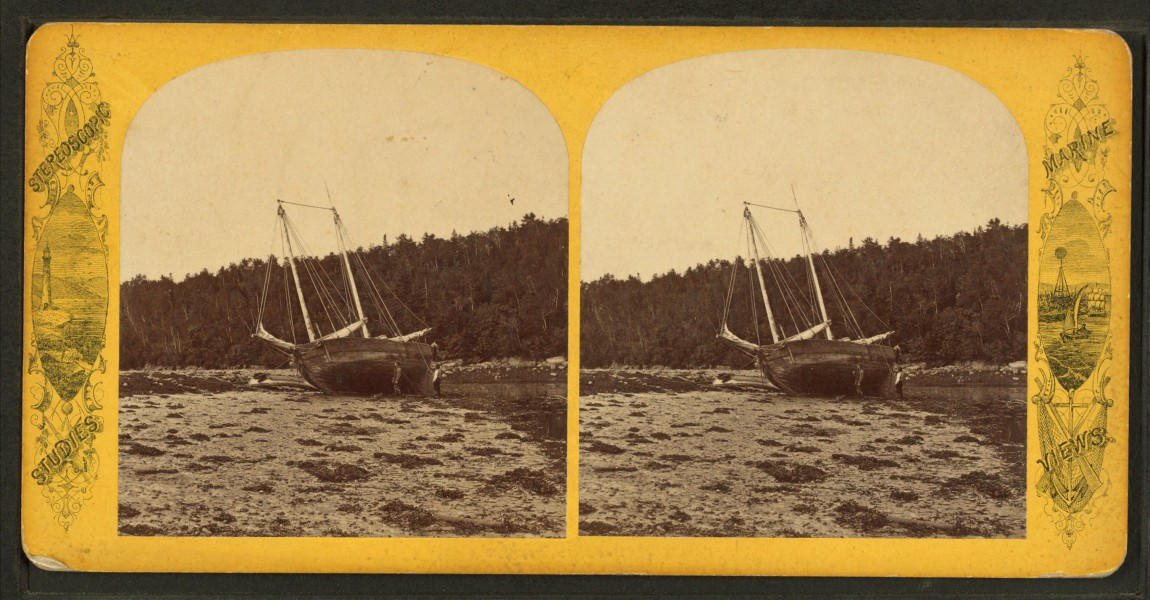 Schooner on the Bar, from Robert N. Dennis collection of stereoscopic views