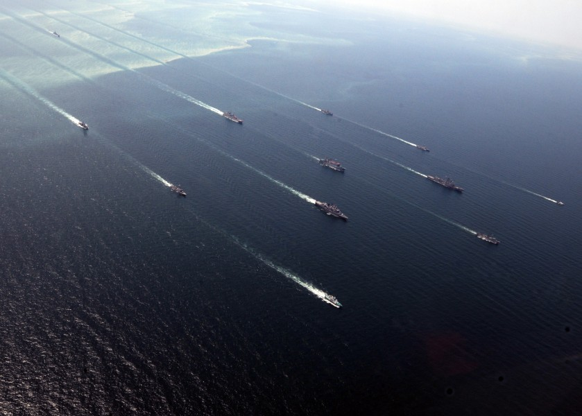 Ships in formation during exercise Sea Breeze 2010