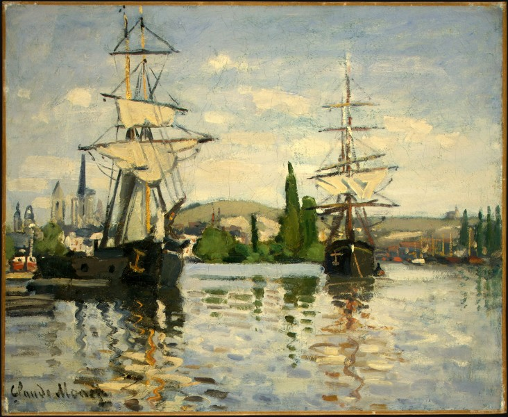 Ships Riding on the Seine at Rouen by Claude Monet, 1872