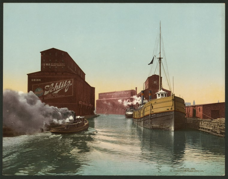 South Branch of the Chicago River at 14th Street 1900 photochrom