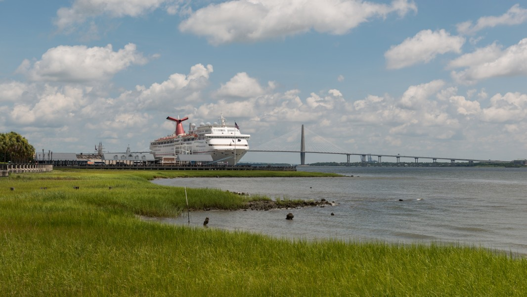 South view of Carnival Ecstasy at Port of Charleston SC and Arthur Ravenel Jr Bridge 20160704 1