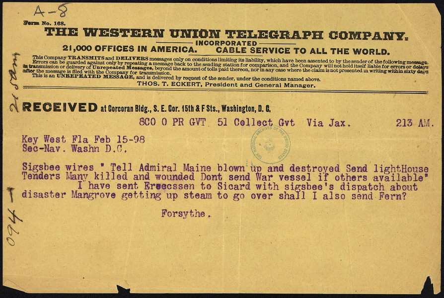 Telegram from James A. Forsythe to Secretary of the Navy - NARA - 300264