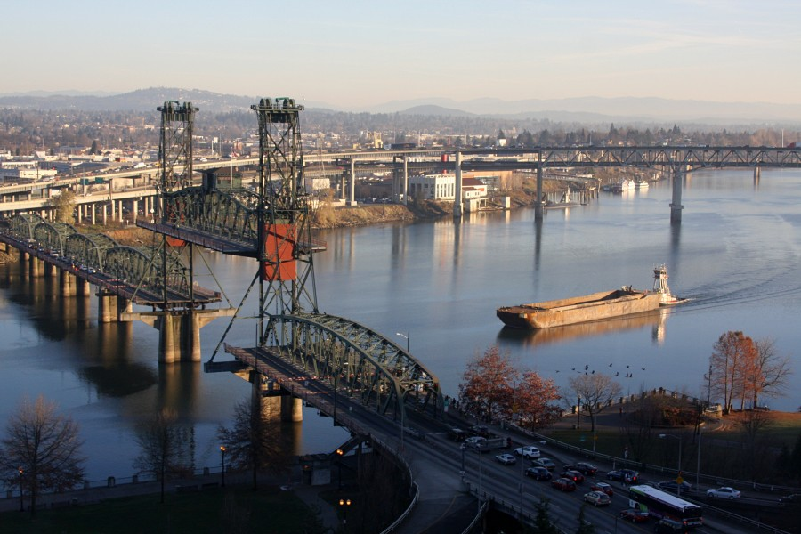 Tug & barge, willamette river -a