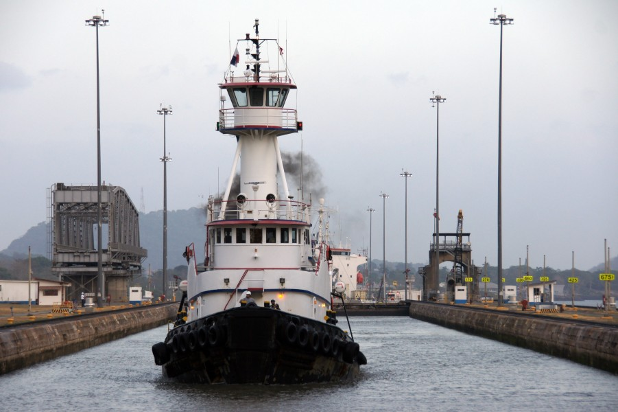 Tug in the Miraflores Lock, Panama Canal