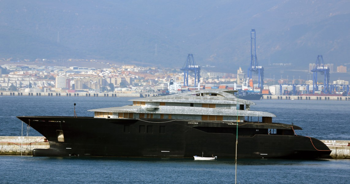 Unfinished Superyacht Hulk at the Detached Mole, Gibraltar
