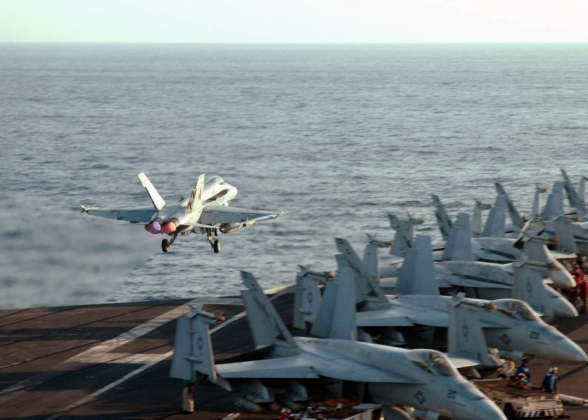 US Navy 021015-N-1159M-004 F-A-18C launches from USS Lincoln