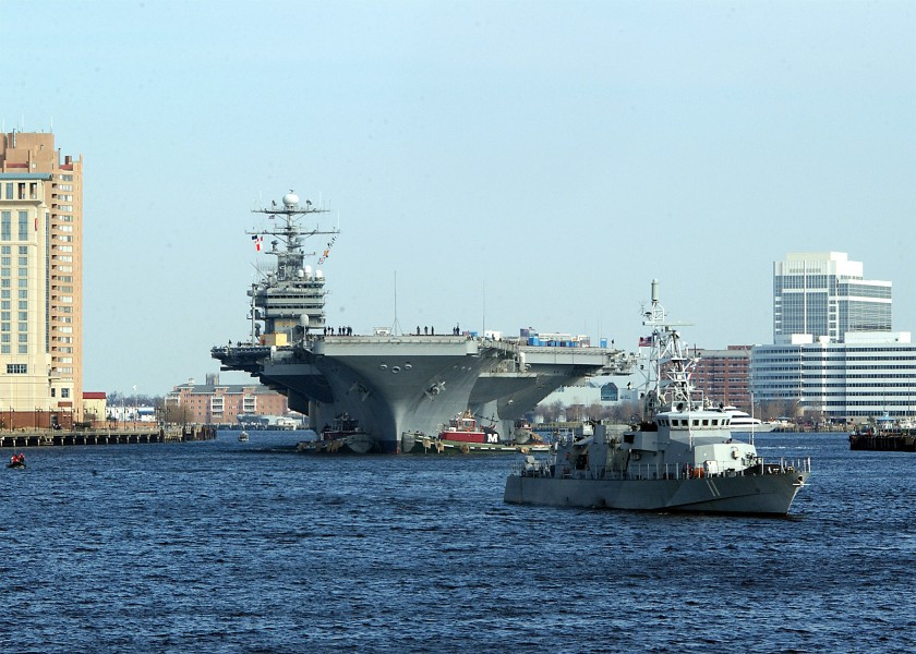 US Navy 030225-N-1743B-001 USS George Washington (CVN 73) passes by downtown Norfolk during her transit down the Elizabeth River