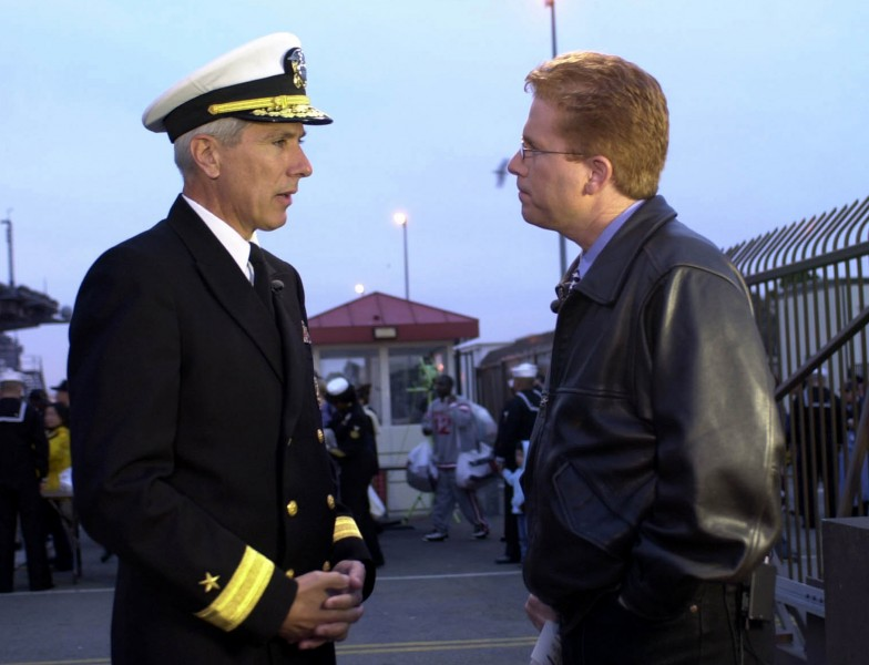 US Navy 030303-N-8273J-001 Radm. Locklear meets with media before deployment with USS Nimtiz battle group