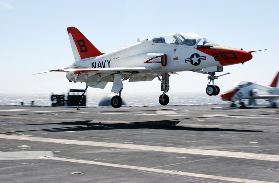 US Navy 030318-N-4768W-054 A T-45 Goshawk lands on the flight deck aboard USS John C. Stennis (CVN 74)