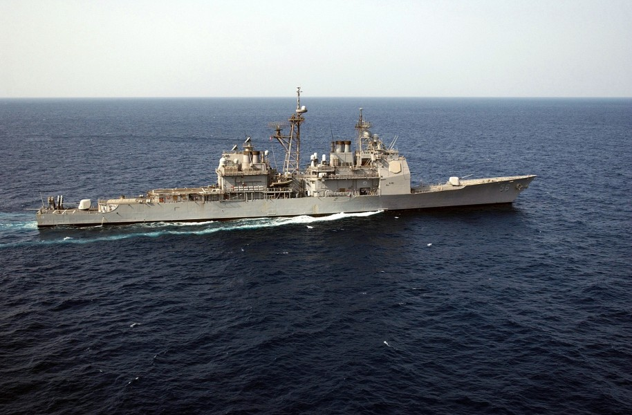 US Navy 030321-N-6141B-001 The guided missile cruiser USS San Jacinto (CG 56) underway conducting combat missions in support of Operation Iraqi Freedom