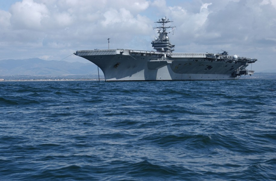 US Navy 030402-N-6525R-040 USS John C. Stennis (CVN 74) anchored off the coast of San Diego, Calif