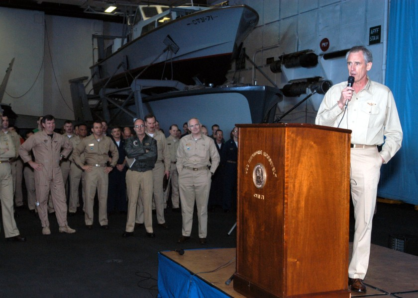 US Navy 030416-N-4154B-502 Admiral Gregory G. Johnson, Commander, U.S. Naval Forces Europe, addresses the crew of USS Theodore Roosevelt (CVN 71) and Carrier Air Wing Eight (CVW-8)
