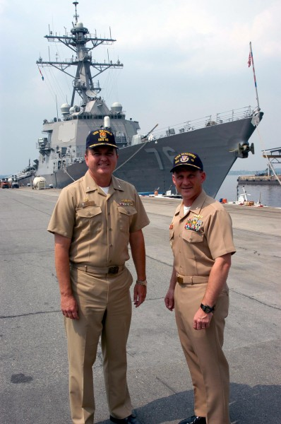 US Navy 030424-N-0021M-002 Cmdr. Mike Gilday is relieved by Cmdr. Randy Hill marking the first ever crew swap of an Arleigh Burke class destroyer
