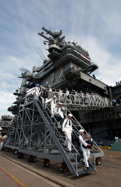 US Navy 030502-N-3236B-008 Sailors assigned to USS Abraham Lincoln (CVN 72) disembark upon the ship^rsquo,s arrival at NAS North Island