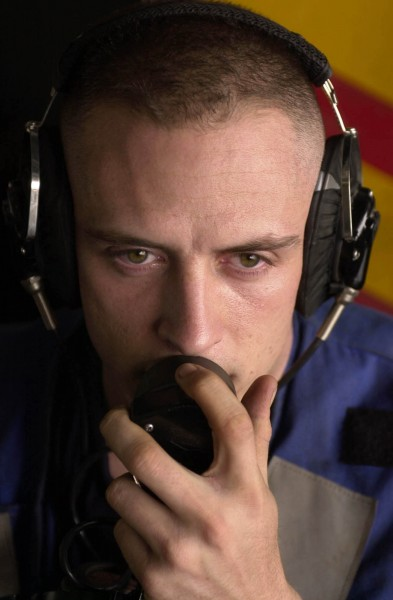 US Navy 030601-N-0413R-002 Airman Bradley Smith from Tucson, Ariz., performs the duties of phone talker