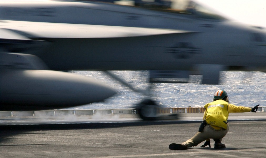 US Navy 030805-N-9769P-052 A F-A-18 'Super Hornet' launches from the flight deck of USS John C. Stennis (CVN 74)
