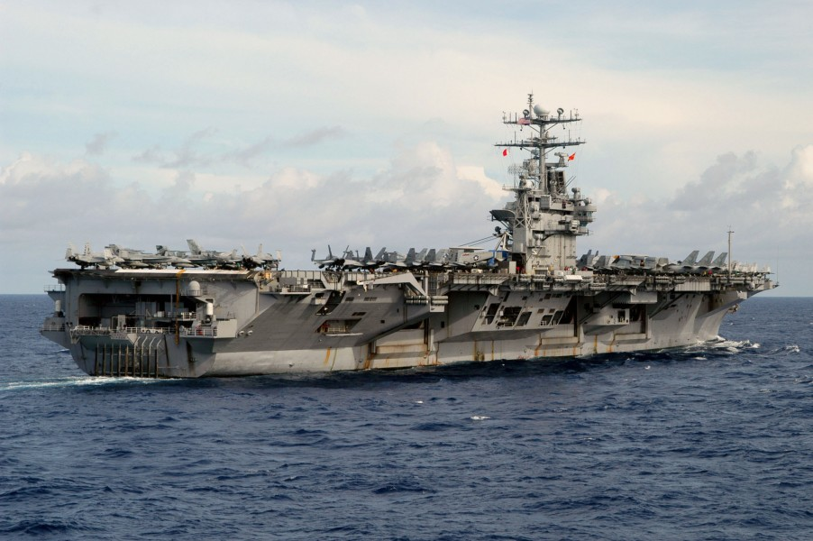 US Navy 030816-N-7267C-001 The nuclear-powered aircraft carrier USS Carl Vinson (CVN 70) sails in the South China Sea completing seven months of a scheduled deployment