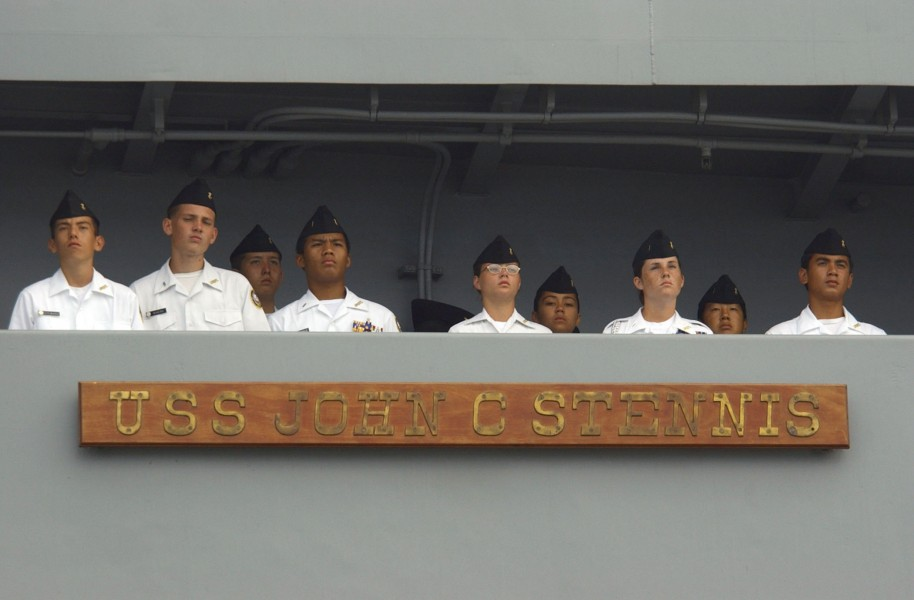 US Navy 031004-N-4768W-181 Navy Junior Reserve Officers^rsquo, Training Corps (ROTC) students man the rails aboard USS John C. Stennis (CVN 74)