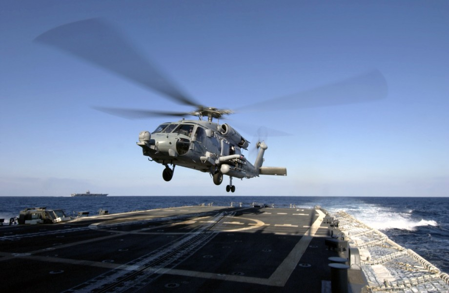 US Navy 031209-N-5319A-003 A HH-60H Seahawk helicopter assigned to ^ldquo,Nightdippers^rdquo, of Helicopter Anti-Submarine Squadron Five (HS-5) prepares to land on the flight deck