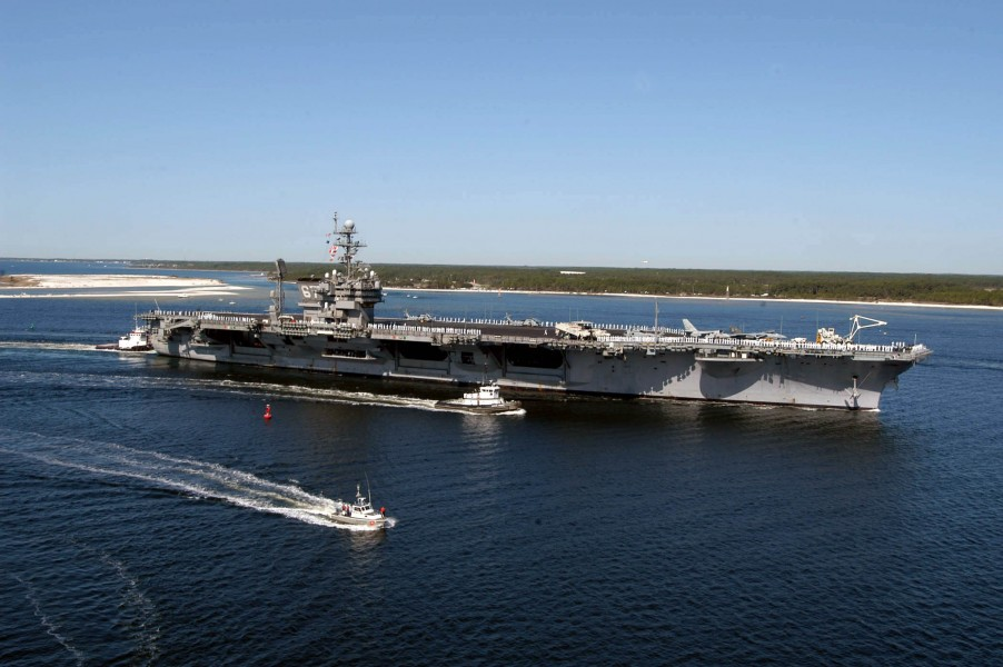 US Navy 040317-N-0000N-060 USS John F. Kennedy (CV 67) arrives at Naval Air Station Pensacola, Fla., for a four-day port visit