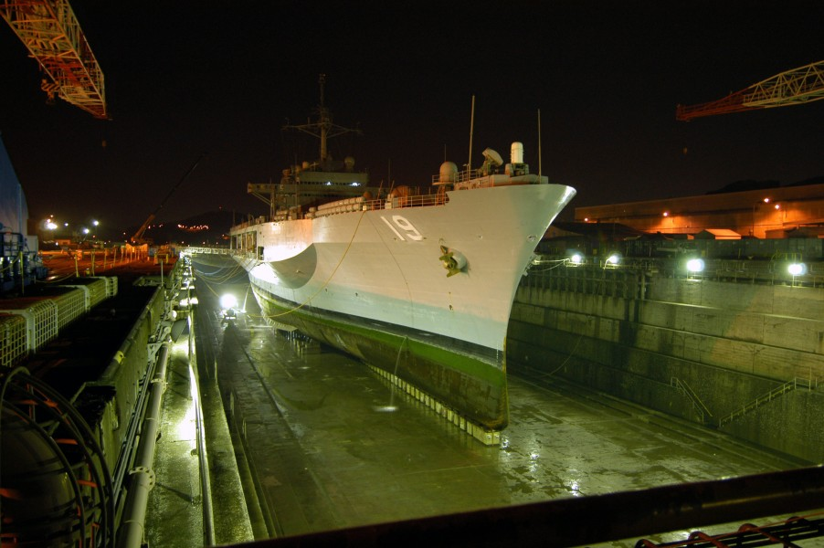 US Navy 040412-N-8955H-153 USS Blue Ridge rests in the Naval Ship Repair Facility dry dock located in Yokosuka, Japan