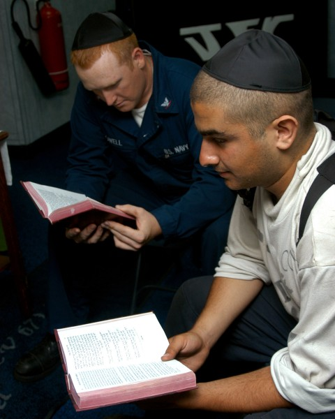 US Navy 040724-N-7683J-001 Aviation Electronic Technician Etan Cohen leads a Jewish prayer service in the ship^rsquo,s chapel aboard USS John F. Kennedy (CV 67)