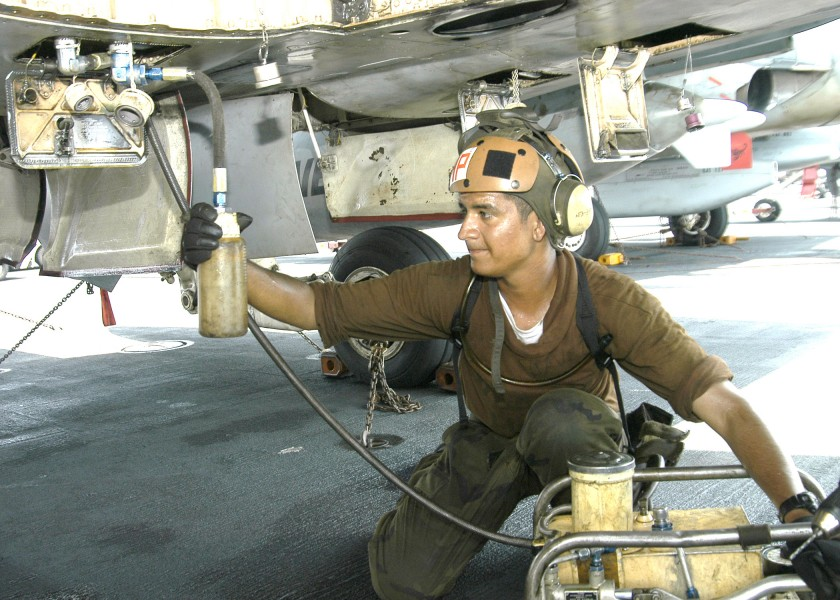 US Navy 040731-N-4565G-001 Airman Alexis of Corona Calif, changes the hydraulic fluid on an F-A-18B Hornet assigned to the Sunliners of Strike Fighter Squadron Eight One (VFA-81)