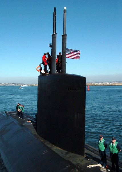 US Navy 041124-N-8977L-002 The maneuvering watch aboard the Los Angeles-class attack submarine USS Topeka (SSN 754) prepares for mooring after being underway for three days off the coast of San Diego, Calif
