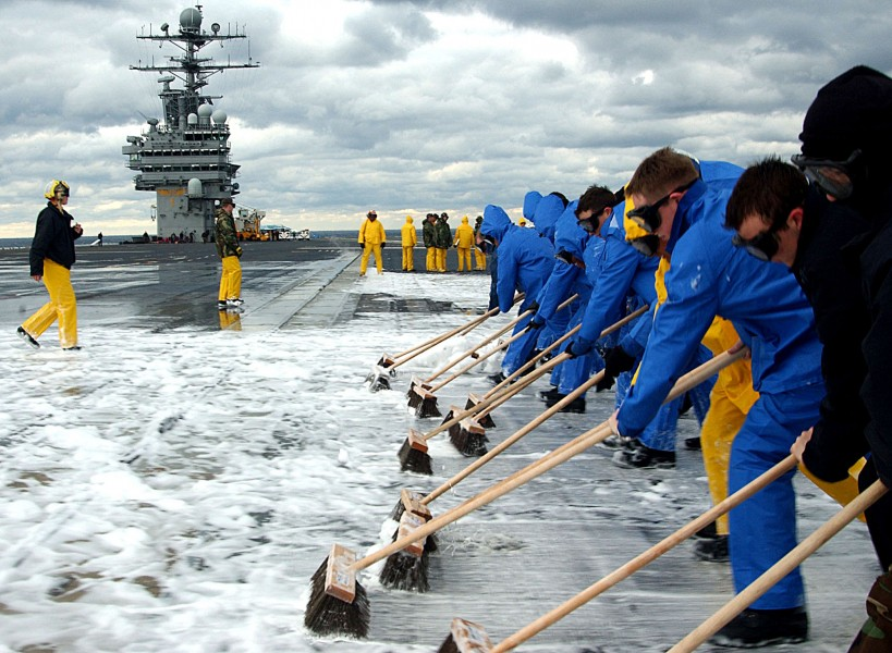 US Navy 041212-N-2838C-003 Sailors assigned to Air Department conduct a Scrub Exercise (SCRUBEX) on the flight deck aboard the Nimitz-class aircraft carrier USS Theodore Roosevelt (CVN 71)