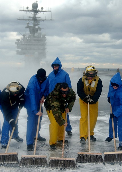 US Navy 041212-N-2838C-004 Sailors assigned to Air Department conduct a Scrub Exercise (SCRUBEX) on the flight deck aboard the Nimitz-class aircraft carrier USS Theodore Roosevelt (CVN 71)