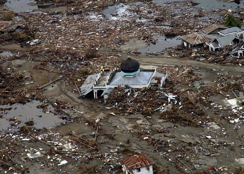 US Navy 050102-N-9593M-038 A village near the coast of Sumatra lays in ruin after the Tsunami that struck South East Asia