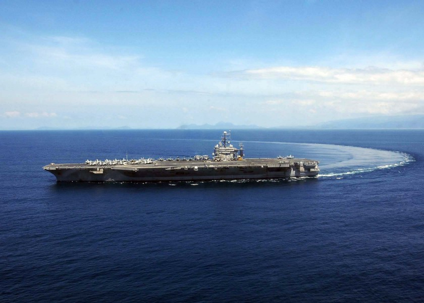 US Navy 050107-N-6074Y-046 The Nimitz-class aircraft carrier USS Abraham Lincoln (CVN 72) makes a turn in the waters of the Indian Ocean just off the coast of Sumatra, Indonesia