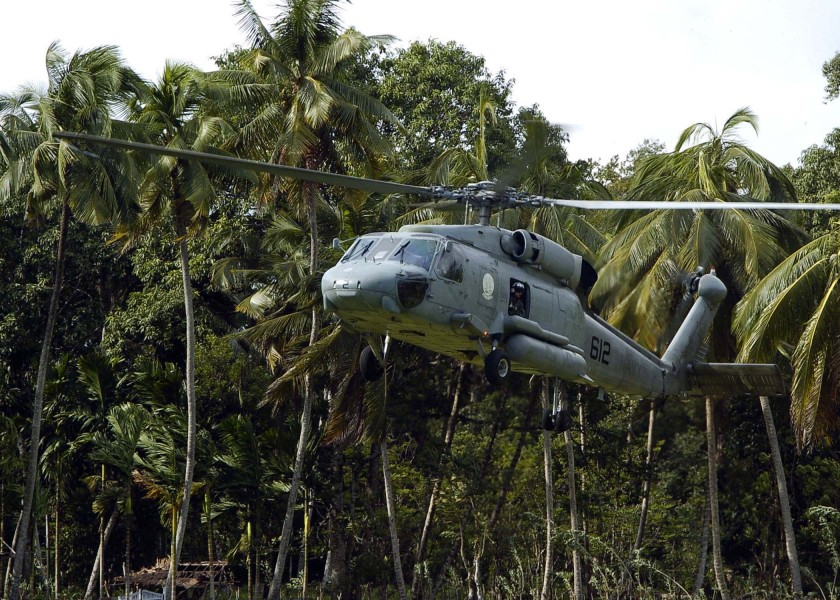 US Navy 050117-N-0057P-221 An SH-60F Seahawk prepares to land in the village of Kuende Panga to pick up a United Nations (UN) World Health Organization (WHO) team