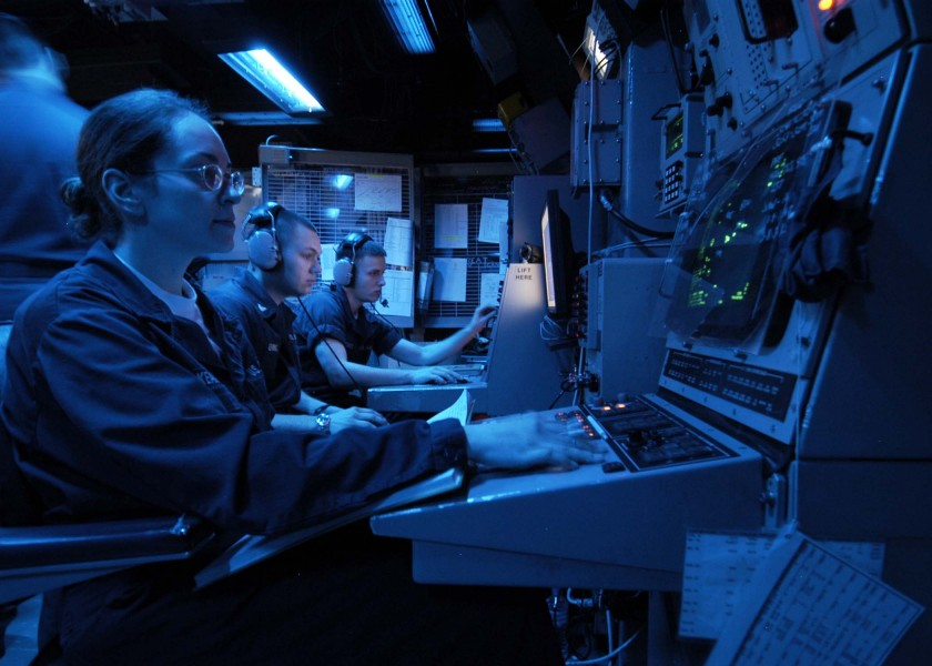 US Navy 050215-N-1229B-050 Cryptologic Technician Technical Seaman Annette Mckean monitors a radar screen during her watch aboard the Nimitz-class aircraft carrier USS Abraham Lincoln (CVN 72)