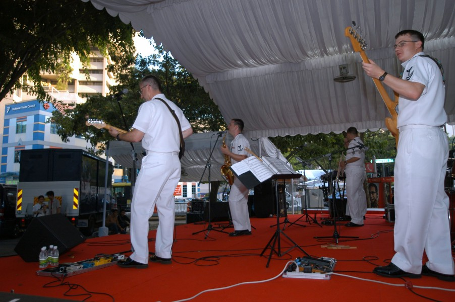 US Navy 050603-N-0493B-002 The Seventh Fleet Band performs at the Singapore Street Festival