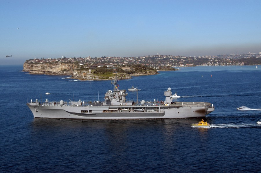 US Navy 050610-N-2468S-001 The amphibious command ship USS Blue Ridge (LCC 19) departs Australia, en route to the Coral Sea to take part in Talisman Saber 2005