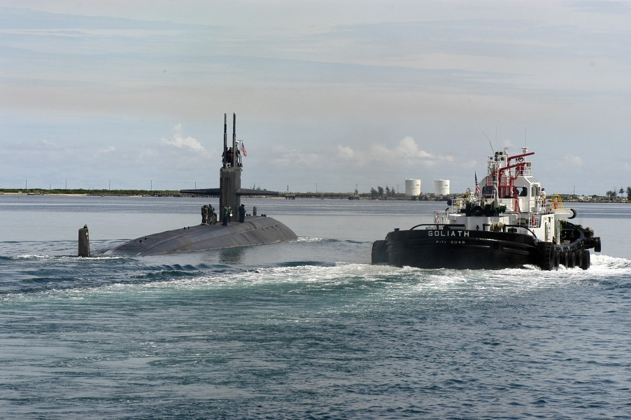 US Navy 050817-N-7293M-111 The Los Angeles-class attack submarine USS San Francisco (SSN 711) departs its former homeport of Apra Harbor, Guam
