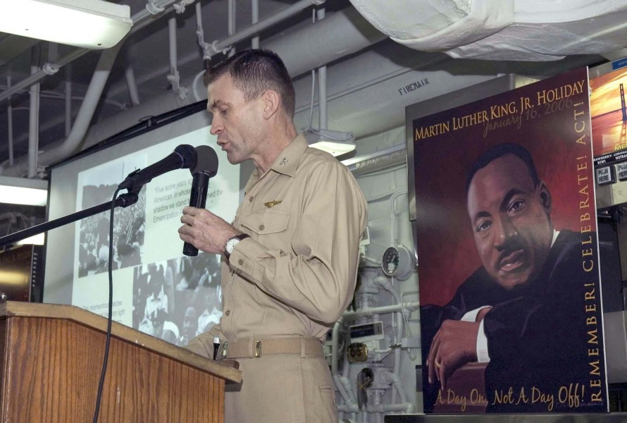 US Navy 060116-N-5384B-006 U.S. Navy Capt. C. Andrew McCawley gives a speech during a ceremony celebrating the life of the late Dr. Martin Luther King Jr