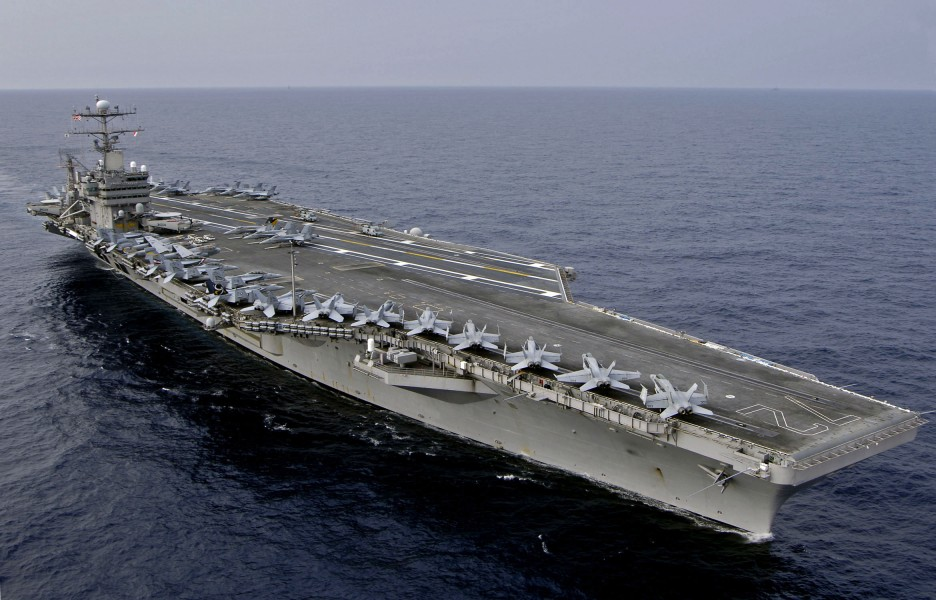 US Navy 060323-N-6074Y-177 The Nimitz-class aircraft carrier USS Abraham Lincoln (CVN-72), and ships of the Japanese Maritime Self-Defense Force (JMSDF) conduct a PASSEX in the Western Pacific