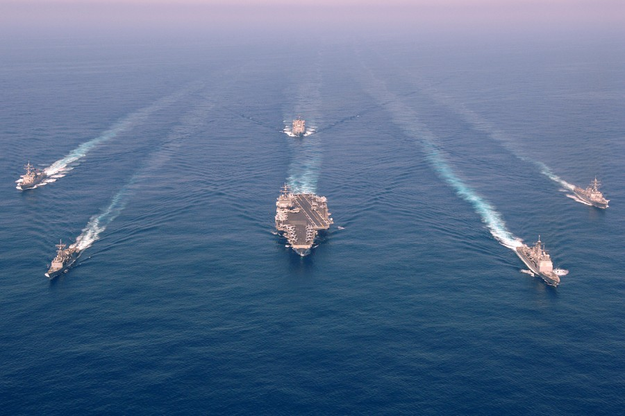 US Navy 060507-N-0119G-001 The Enterprise Carrier Strike group (CSG) sails through the Atlantic Ocean in formation
