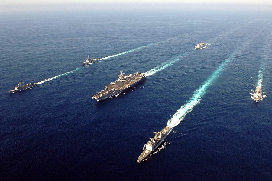 US Navy 060507-N-0119G-002 The Enterprise Carrier Strike group (CSG) sails through the Atlantic Ocean in formation