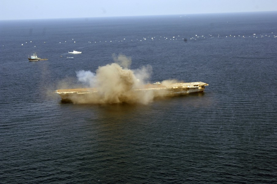 US Navy 060517-N-7992K-002 The ex-Oriskany, a decommissioned aircraft carrier, was sunk 24 miles off the coast of Pensacola, Fla., on May 17 to form an artificial reef