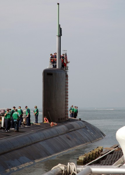 US Navy 060822-N-8655E-002 The Pre Commissioning Unit (PCU) Texas (SSN 775) prepares to get underway from Naval Station Norfolk