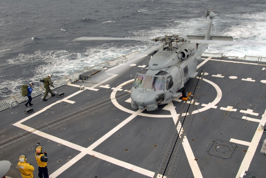 US Navy 070409-N-5681S-016 An SH-60B Seahawk assigned to Helicopter Anti-Submarine Squadron Light (HSL) 46 lands aboard the guided missile destroyer USS Bainbridge (DDG 96)