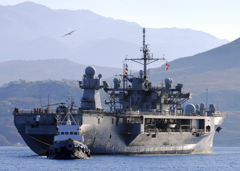 US Navy 070918-N-0780F-001 The 6th Fleet flagship USS Mount Whitney (LCC 20) arrives in Souda harbor for a brief port visit on Greece's largest island