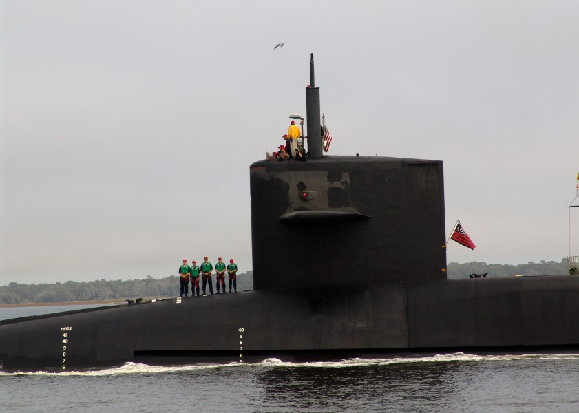 US Navy 071215-N-1841C-014 Sailors aboard the nuclear-powered guided-missile submarine USS Georgia (SSGN 729) makes her final approach through the South Georgia inland passage of the Atlantic Intracostal Waterway