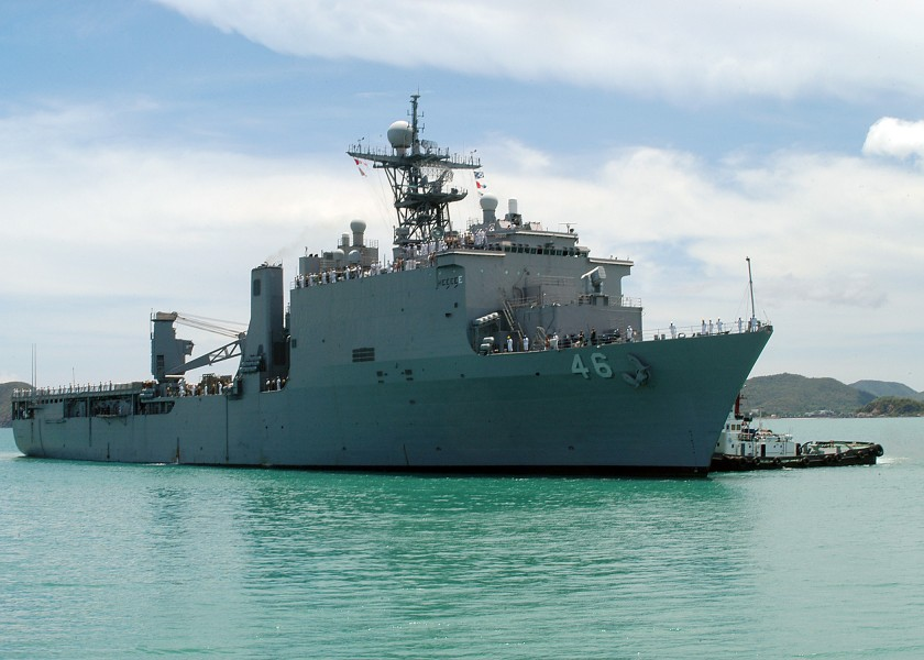 US Navy 080608-N-3581D-002 The amphibious dock landing ship USS Tortuga (LSD 46) arrives in Thailand from a recent Cooperation Afloat Readiness and Training (CARAT) exercise in the Philippines