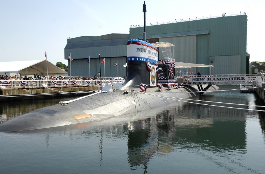 US Navy 080621-N-8467N-001 Pre-commissioning Unit New Hampshire (SSN 778) sits moored to the pier at General Dynamics Electric Boat shipyard moments before her christening ceremony commenced